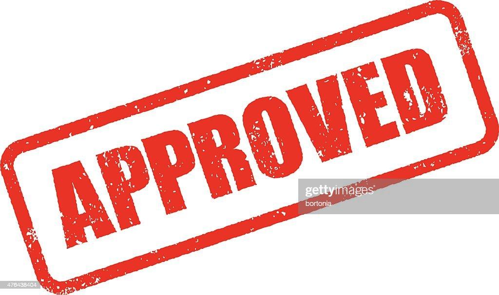 Approved Rubber Stamp Ink Imprint Icon (Transparent Background) : stock illustration