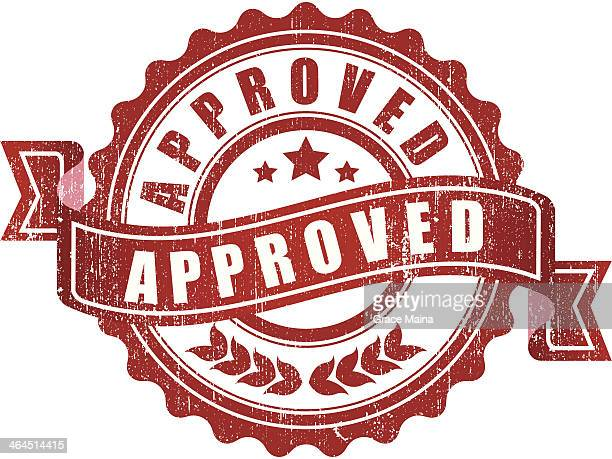 approved sign - vector - approval stock illustrations, clip art, cartoons, & icons