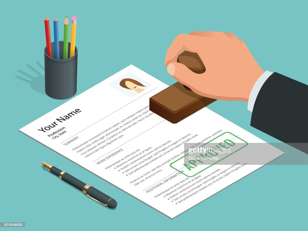 Approved stamp in hand businessman and Approved document with stamp, pen. Isometric Vector illustration.
