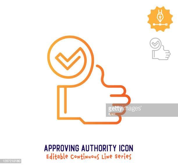 illustrations, cliparts, dessins animés et icônes de approving authority continuous line editable stroke line - offre d'enchère