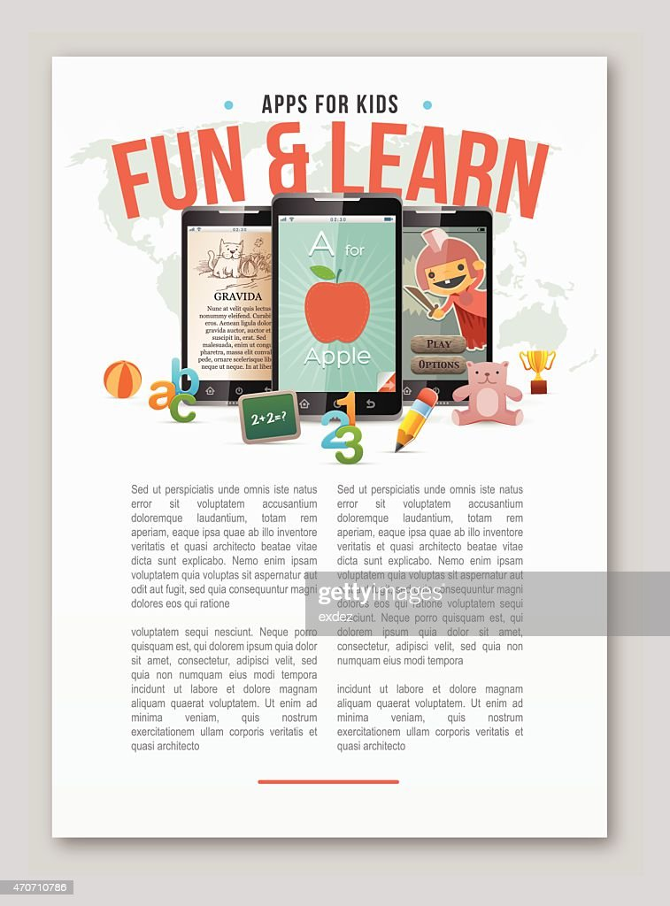 Apps for kids learning copy space : stock illustration