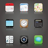 Apps icons set with reflection