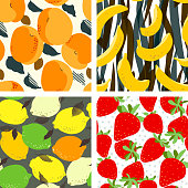 Apricot fruits, limes and lemons citrus, banana and strawberries seamless pattern set. Fresh fruits, leaves and stones background. Trendy freehand drawing illustration