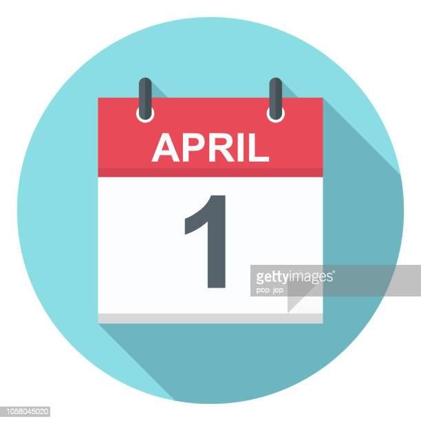 april 1 - calendar icon - 2019 2020 calendar stock illustrations
