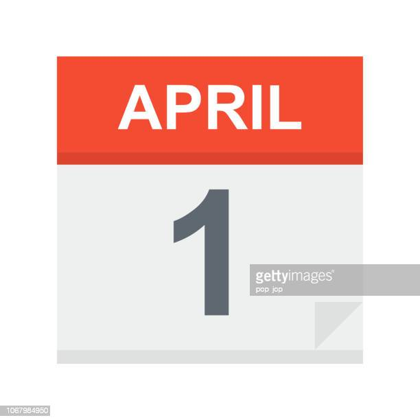 stockillustraties, clipart, cartoons en iconen met 1 april - pictogram van de kalender - april
