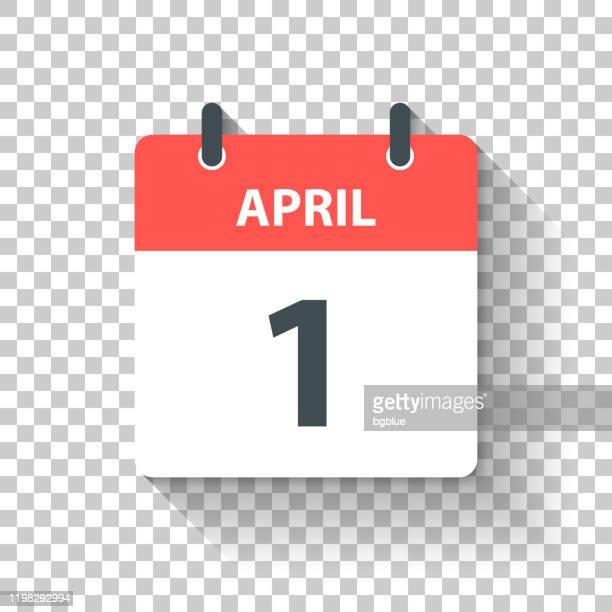 4月1日 - フラットデザインスタイルのデイリーカレンダーアイコン - 四月点のイラスト素材/クリップアート素材/マンガ素材/アイコン素材