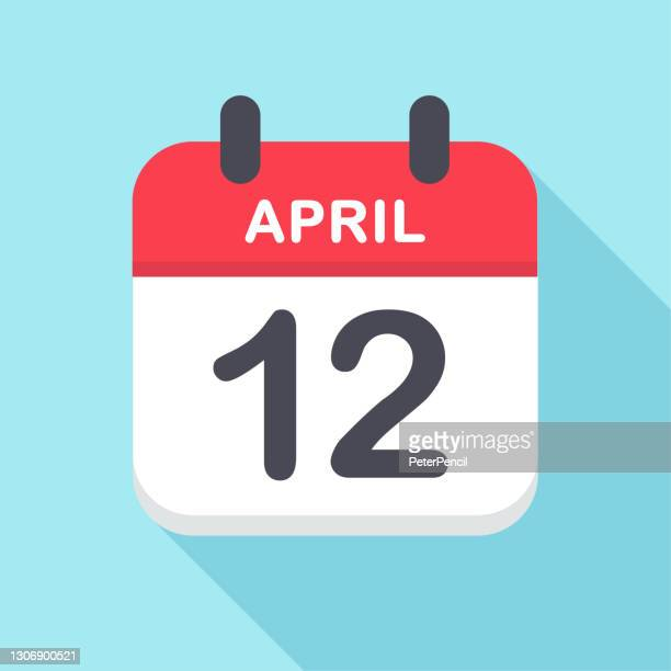 stockillustraties, clipart, cartoons en iconen met 12 april - kalenderpictogram - april