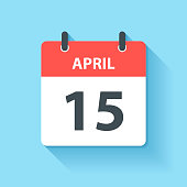 April 15 - Daily Calendar Icon in flat design style
