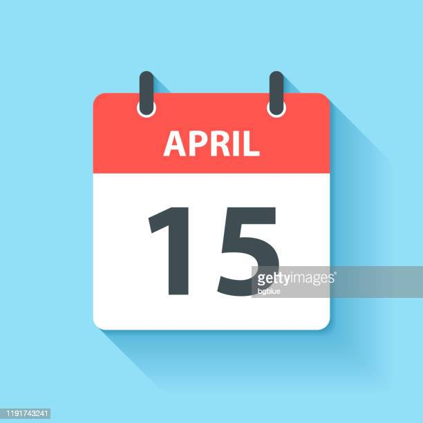 4月15日 - フラットデザインスタイルのデイリーカレンダーアイコン - 四月点のイラスト素材/クリップアート素材/マンガ素材/アイコン素材