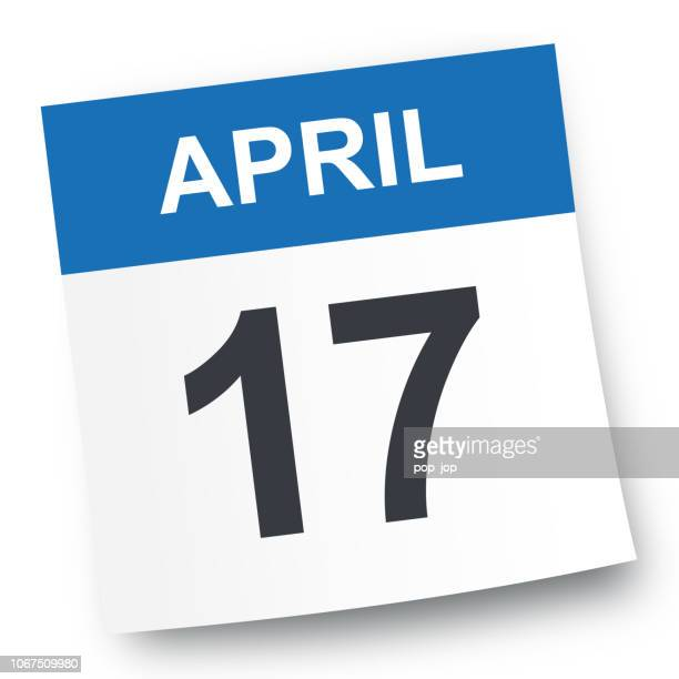 stockillustraties, clipart, cartoons en iconen met 17 april - pictogram van de kalender - april