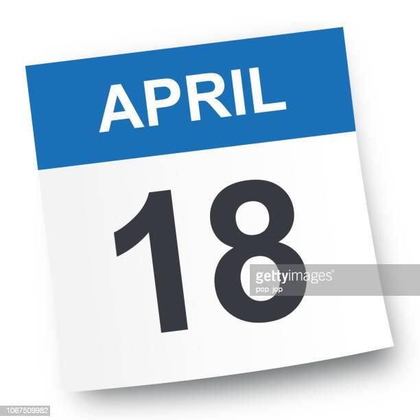 april 18 - calendar icon - april stock illustrations