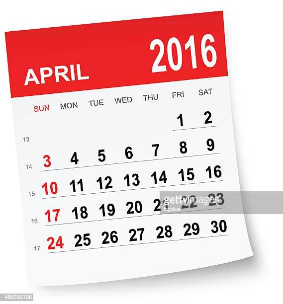 april 2016 calendar - 2016 stock illustrations, clip art, cartoons, & icons