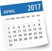 April 2017 calendar leaf - Illustration