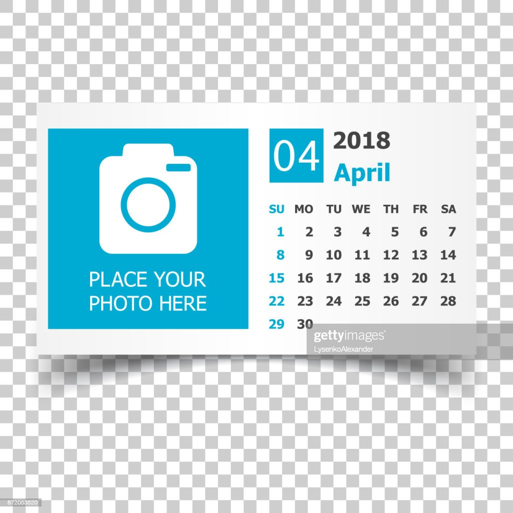 April 2018 calendar. Calendar planner design template with place for photo. Week starts on sunday. Business vector illustration.