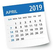 April 2019 Calendar Leaf - Vector Illustration