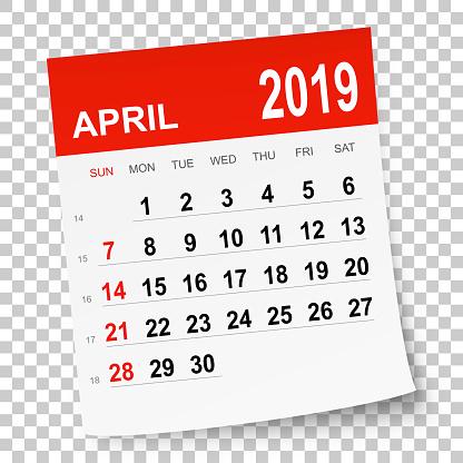 April 2019 calendar - gettyimageskorea