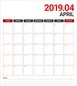 April 2019 desk calendar vector illustration
