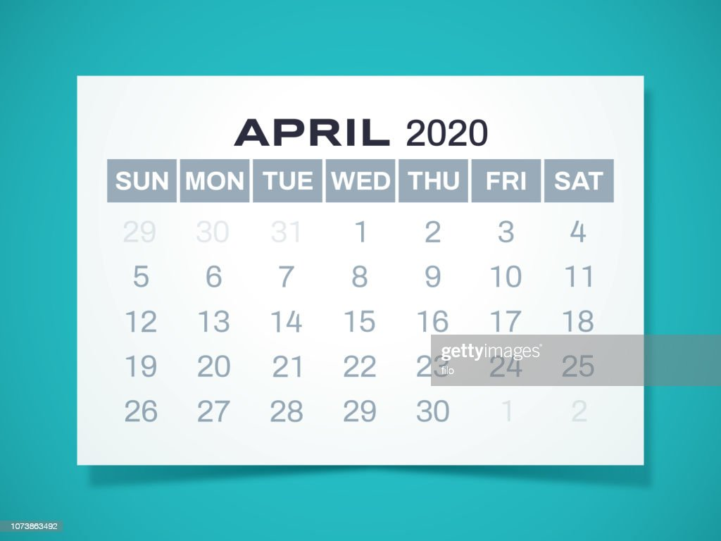 April 2020 Calendar High Res Vector Graphic Getty Images