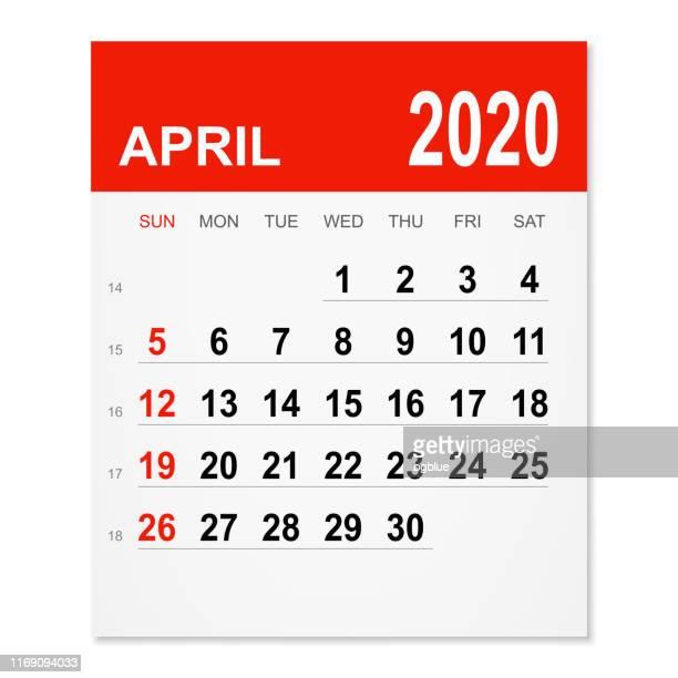 2020年4月カレンダー - 四月点のイラスト素材/クリップアート素材/マンガ素材/アイコン素材
