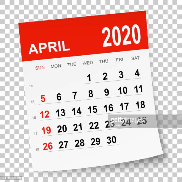 april 2020 calendar - curled up stock illustrations