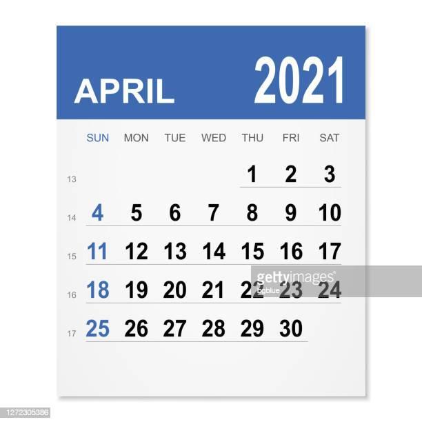 april 2021 calendar - april stock illustrations