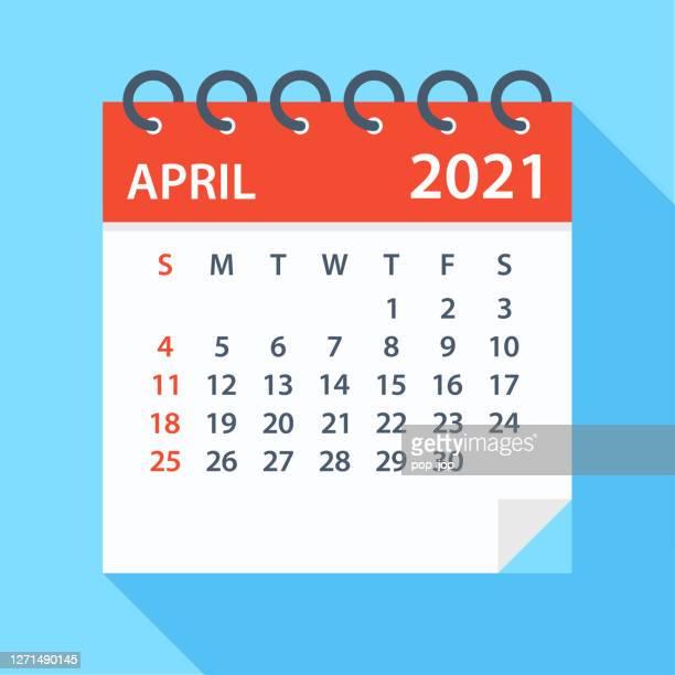 illustrazioni stock, clip art, cartoni animati e icone di tendenza di aprile 2021 - calendario. la settimana inizia la domenica - aprile