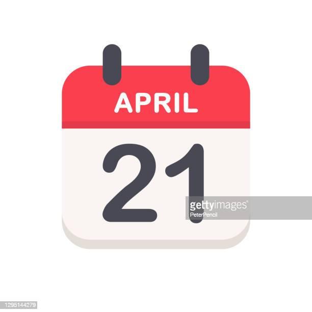 april 21 - calendar icon - april stock illustrations