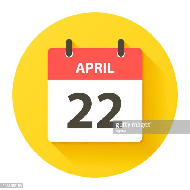 april 22 - round daily calendar icon in flat design style - april stock illustrations