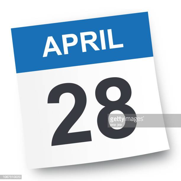 stockillustraties, clipart, cartoons en iconen met 28 april - pictogram van de kalender - april