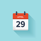 April 29. Vector flat daily calendar icon. Date and time