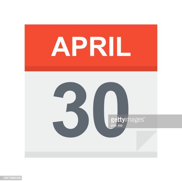 april 30 - calendar icon - april stock illustrations