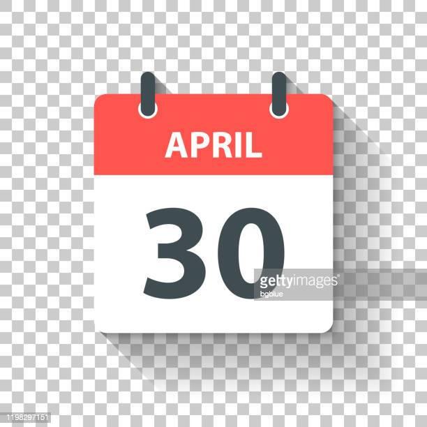 stockillustraties, clipart, cartoons en iconen met 30 april-dagelijks kalenderpictogram in platte ontwerp stijl - april