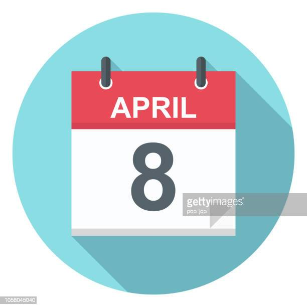 april 8 - calendar icon - day stock illustrations, clip art, cartoons, & icons