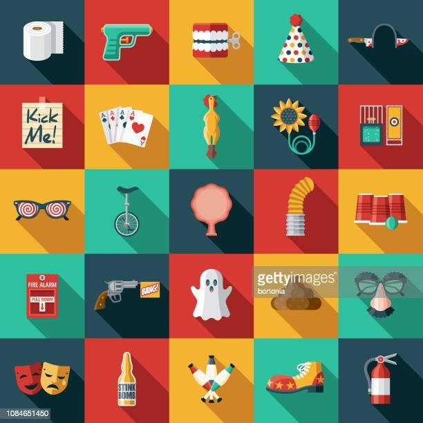 april fools day flat design icon set - april fools day stock illustrations