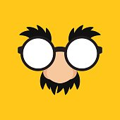 April Fools Day Funny Mask Glasses in Yellow Backgroun