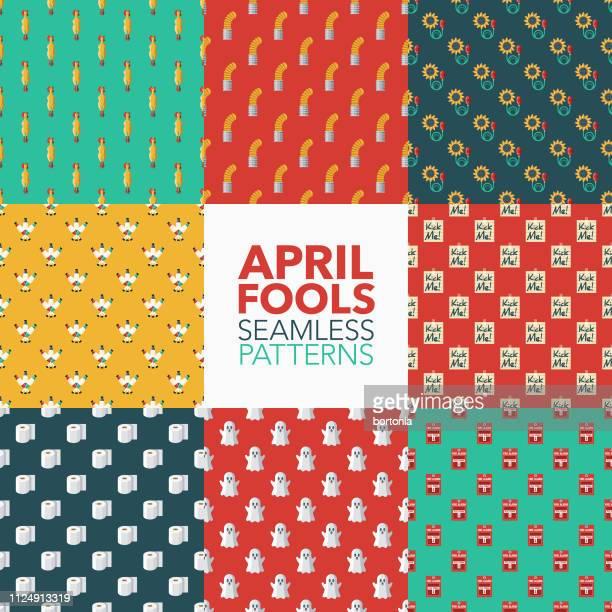 april fools' day seamless patterns - april fools day stock illustrations