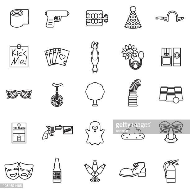 april fools day thin line icon set - april fools day stock illustrations