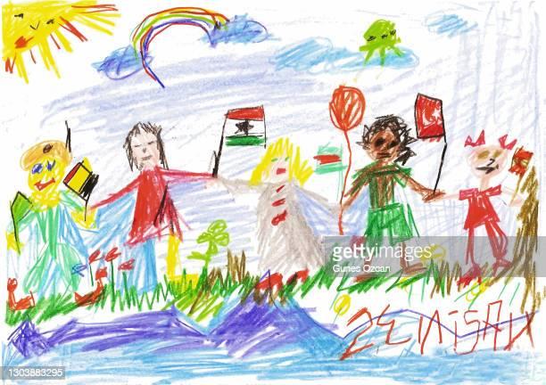 stockillustraties, clipart, cartoons en iconen met 23 april, nationale soevereiniteit en kinderdag, turkije - kindertekening - april