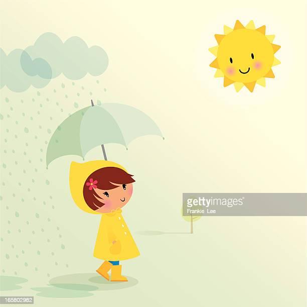april showers - sunlight stock illustrations, clip art, cartoons, & icons