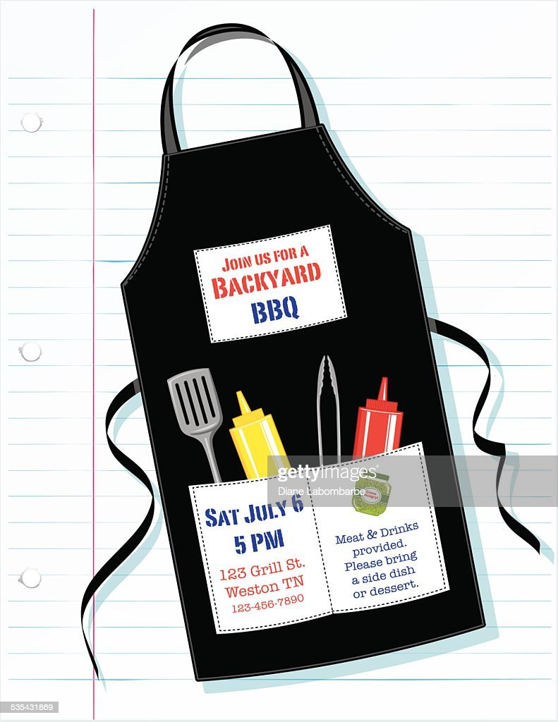 BBQ Apron Invitation On Lined Paper