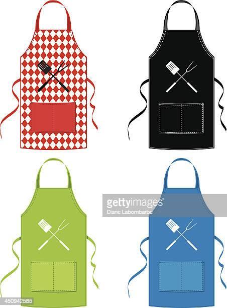 bbq apron set - apron stock illustrations