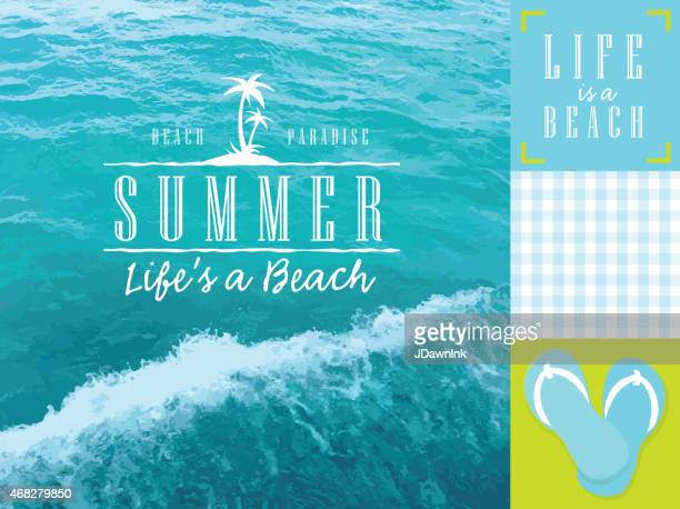 aqua and green summer beach themed set of elements - sandal stock illustrations, clip art, cartoons, & icons