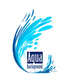 Aqua background, splash water on white