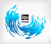 Aqua rounded background, splash water on white