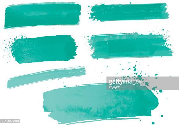 Aqua watercolor paint strokes