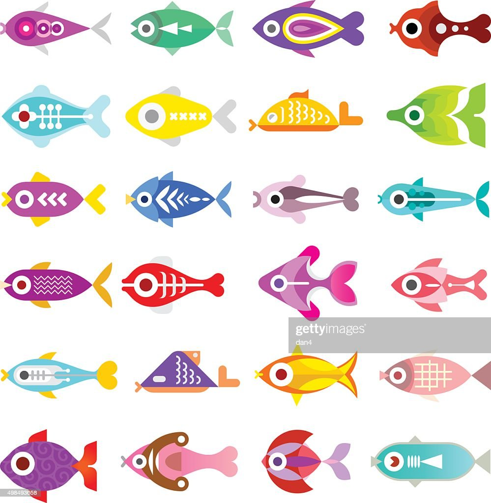 Aquarium Fish Vector Icons Vector Art Getty Images