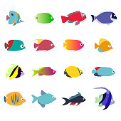 Aquarium Fishes - set of vector icons. Isolated on white