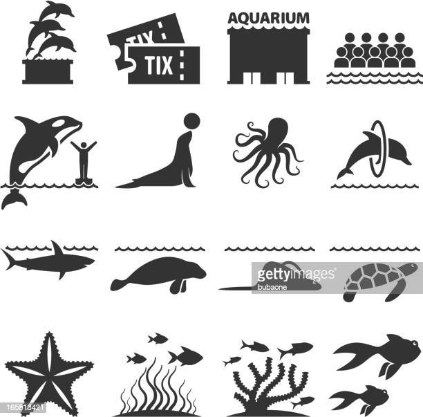 Aquarium Sea Animals black & white vector icon set