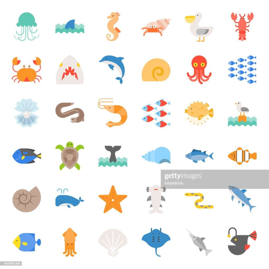 Aquatic Ocean life flat icon set