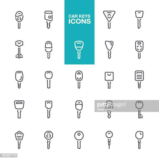 сar keys line icons - car key stock illustrations, clip art, cartoons, & icons